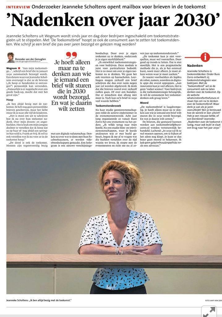 Nadenken over jaar 2030 Jeanneke Scholtens